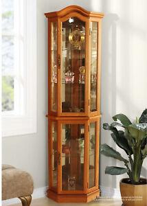 Collectors Curio Cabinet With Lighting Corner Vintage Display Home Furniture UK