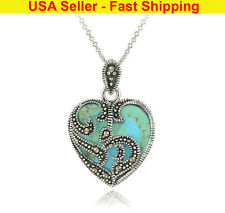 Ladies Women Necklace - Turquoise Heart Necklace - Girls Necklace