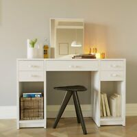 Dressing Table with Mirror and 5 Drawers, White finish Vanity