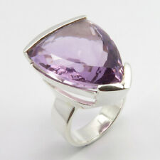 Real AMETHYST February Birthstone 925 Pure Silver CHUNKY Ring Sz 6.75 Bestseller
