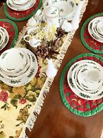 45 Set PC CHODZIEZ Poland Gold Rimmed Holly Red Green Berry Christmas Fine China