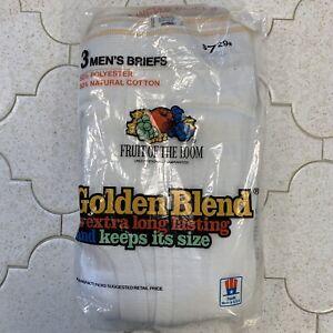 3 Vintage Fruit of the Loom Golden Blend Mens White Briefs 1984 Sm 30-32 NEW NOS