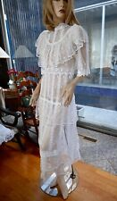 Lim'S Vintage Victorian Style High Neck Hand Crochet Maxi Dress, M White