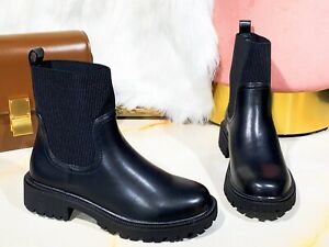 Ladies Ankle Chelsea Boots Women Plain High Top Knit Punk Goth Chunky Heel Shoes