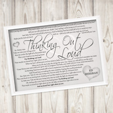 Ed Sheeran Thinking out loud A4 FRAMED print Song Lyrics Gift wedding valentines