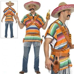Tequila Shooter Guy Costume Adult Mens Mexican Mexico Poncho Fancy Dress Outfit