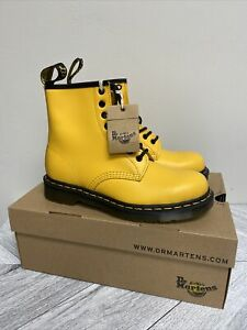 Dr Martens 1460 Smooth Leather 8 Eye Combat Boots Women's US 11 Yellow NEW $150