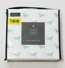 Cynthia Rowley TWIN White with Blue DACHSHUND Dog Sheet Set & Pillowcase  NEW