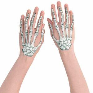Amscan Black & Bone Skeleton Romance Hands 2 Temporary Tattoos Halloween