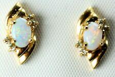 14K Opal & Diamond Earrings  2.6g