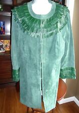 PAMELA MCCOY GENUINE LEATHER GREEN FRINGE COAT JACKET SIZE 1X