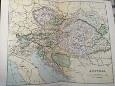 Antique Print C1870'S Map Of Austria Colour Map Of The World Europe Globe Atlas