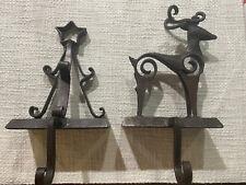 Fireplace Mantel 2 piece Set Reindeer & Christmas Tree Stocking Hangers Vintage