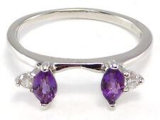 14k white gold Marquise Amethyst Diamond Ring Wrap Guard Enhancer .48 ctw