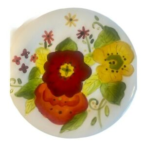 2 Pier 1 Grace Colorful Floral Earthenware Salad Plates 9 inches Hand Painted