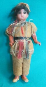 Antique Made In Germany Native American Porcelain Boy Doll Glass Eyes