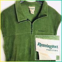 Remington Hunting Outdoor Fleece Vest Vintage Men's Size LG Green Full Zip 🦆🐗