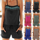 Plus Size Women' Summer Sleeveless Casual Loose Jumpsuit Romper Shorts Playsuit