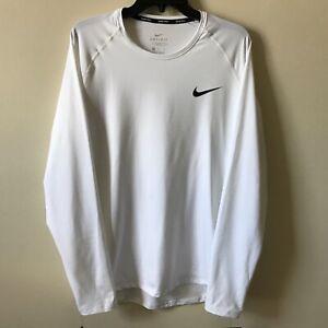 Nike PRO Training Shirt Men's Slim Fit SZ XL Long Sleeve White NWT BV5594-100