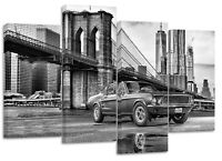 Ford Mustang retro in New York set of 4 canvas split prints wall art poster