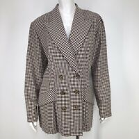 Vintage 90's Womens Plaid Blazer Jacket 11 Houndstooth Double Breasted Mod y2k