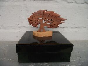 Hand Crafted by Phil Baldwin Fretwork Jigsaw Hawthorn Tree in Cherry Beech Wood