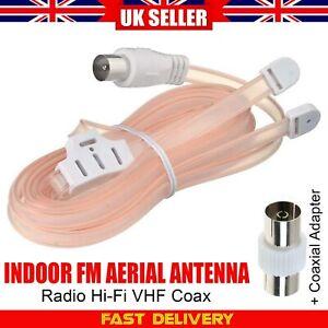 VHF/FM Radio Aerial Antenna HIFI Stereo Flat Ribbon Type Dipole Ribbon Indoor UK