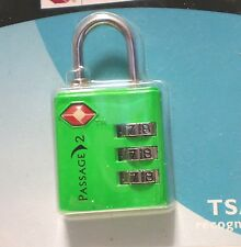 "NEW ""PASSAGE 2"" TSA TRAVEL LOCK - 3 DIAL COMBO - DEEP BRIGHT GREEN"