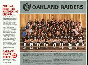 1977 Oakland Raiders 8.5 x 11 Team Photo From Hyatt House