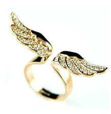 1pc Womens Vintage Fashion New Style Angel Wing Gold Plated Crystal Lovely Ring