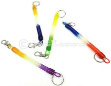 MULTI COLOUR RETRACTABLE EXTENDING SPIRAL STRETCH SPRING COIL KEY RING BELT CLIP