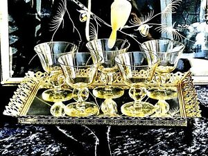 WONDERFUL EARLY 20TH CENTURY HAND MADE CRYSTAL WINE / CHAMPAGNE GLASSES SWEDEN