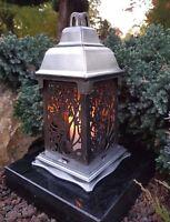 LED Kerze+Granit Sockel Grablampe Lampe Grableuchte Grablicht Rose Grablaterne
