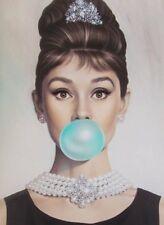 Audrey Hepburn Azul goma de mascar LONA pared arte A4