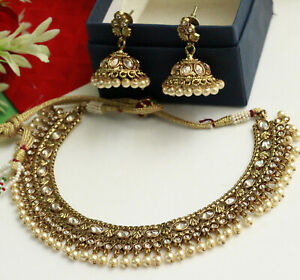 Indian Bollywood Gold Plated Necklace & Earrings Gold Pearl Wedding Jewelry Set