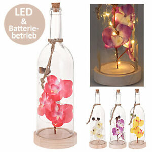 Künstliche Orchidee LED Kunstblumen Kunstpflanzen Deko Orchideen in Glaskuppel