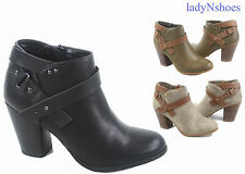 NEW Women's Faux Leather Almond Toe Zip Chunky Heel Ankle Booties Size 5.5 - 11