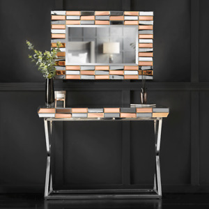 Rosegold Wall Mirror Mirrored Console Glass Living Room Furniture