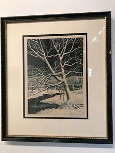 Samuel L. Margolies Etching of Deer in Winter Landscape WPA Artist