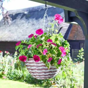 """New Garden 14"""" Duet Faux Rattan Hanging Basket - pre-lined - holds 7.5L of soil"""