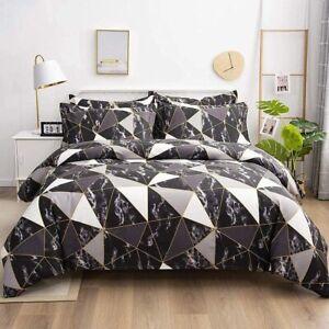 135x200 Bettwäsche Marmor Schwarz Weiß Marmor Optik Bettbezug Geometrisch Muster