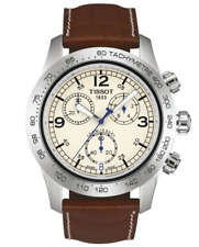 TISSOT V8 Steel Chronograph Brown Leather Men's Watch T36.1.316.72 NEW