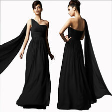 Long Flowing Formal One Shoulder Ball Gown Bridesmaid Evening Dress Black