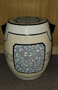 Vintage Chinese Porcelain Blue & White Hand Painted Garden Stool