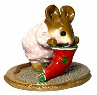 """Wee Forest Folk: """"Chris-Mouse Stocking"""" 1986 Miniature Christmas Figurine M-142"""