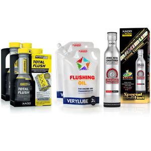 XADO Set 2x Motor Reiniger + 2x Spülöl + Motor Verschleiß Schutz Öl Additiv
