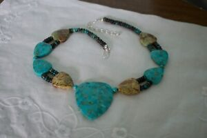 Jay King DTR Large Turquoise Nuggets Bead Sterling Silver Necklace Rare*****