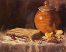 Original Art Oil Painting Still Life Impressionism Pottery Sallows Listed Artist