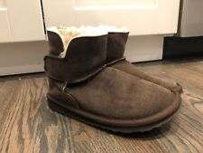 EMU Australia Wool Lined Brown Suede Velcro Strap Slipper Ankle Shoes Womens 7