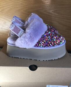 NWT UGG Size 7 Funkette Stellar Sequin Platform Shoe Slipper Clog LFST Purple